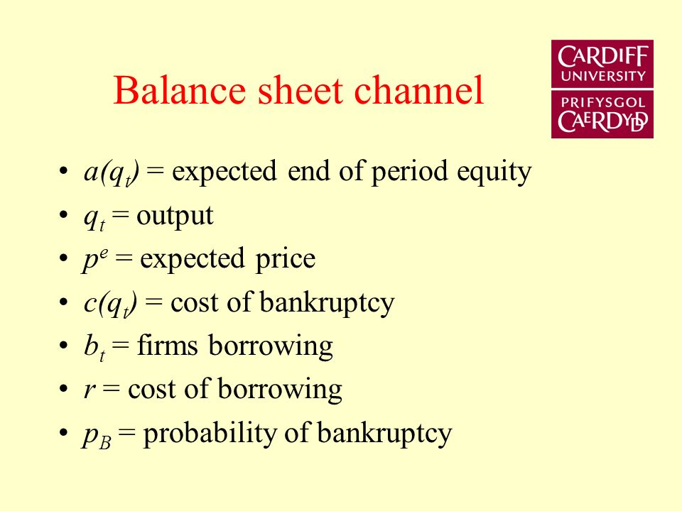 Monetary Policy Monetary policy changes the External Finance Premium Works through two channels (1) The balance sheet channel (2) The bank lending channel As in previous slide the balance sheet channel is based on the argument that external finance premium depends on the borrowers net worth (liquid assets minus liquid liabilities).