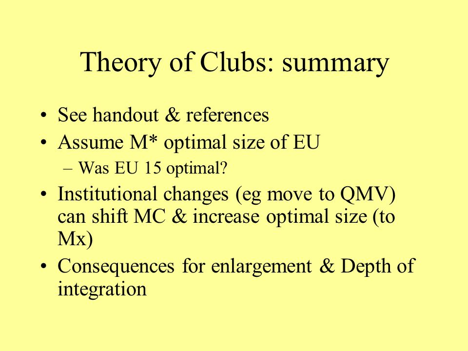 Theory of Clubs: summary See handout & references Assume M* optimal size of EU –Was EU 15 optimal.