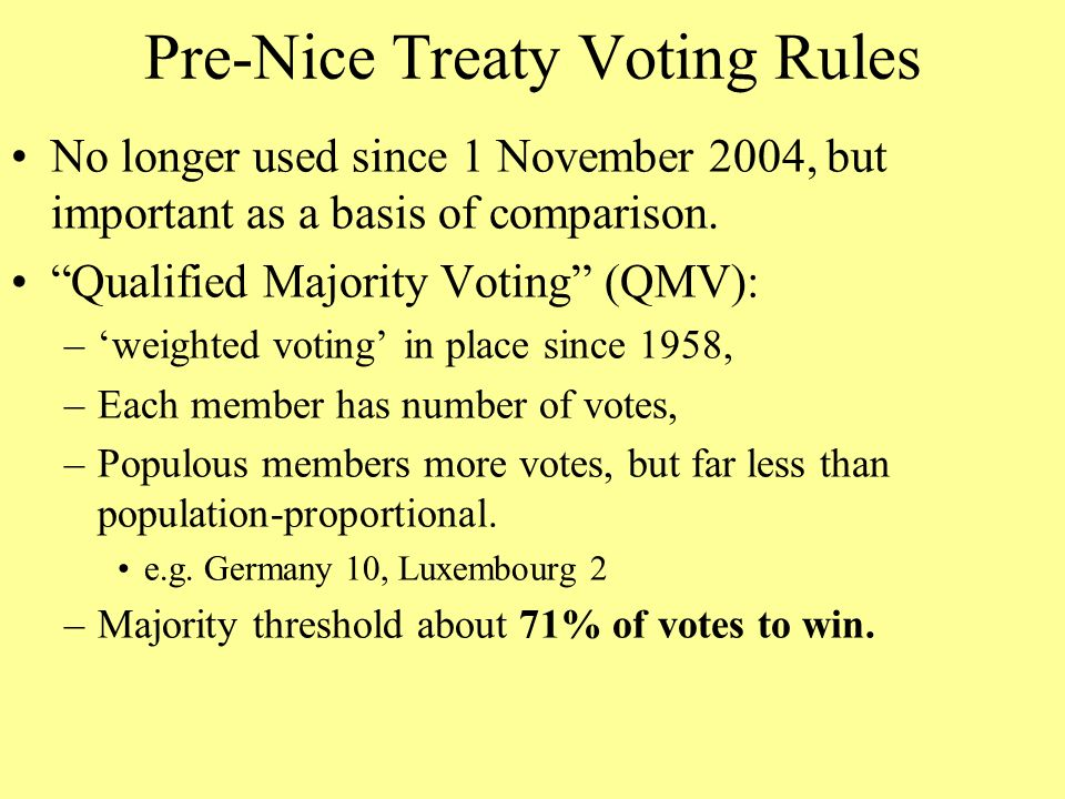 Pre-Nice Treaty Voting Rules No longer used since 1 November 2004, but important as a basis of comparison.