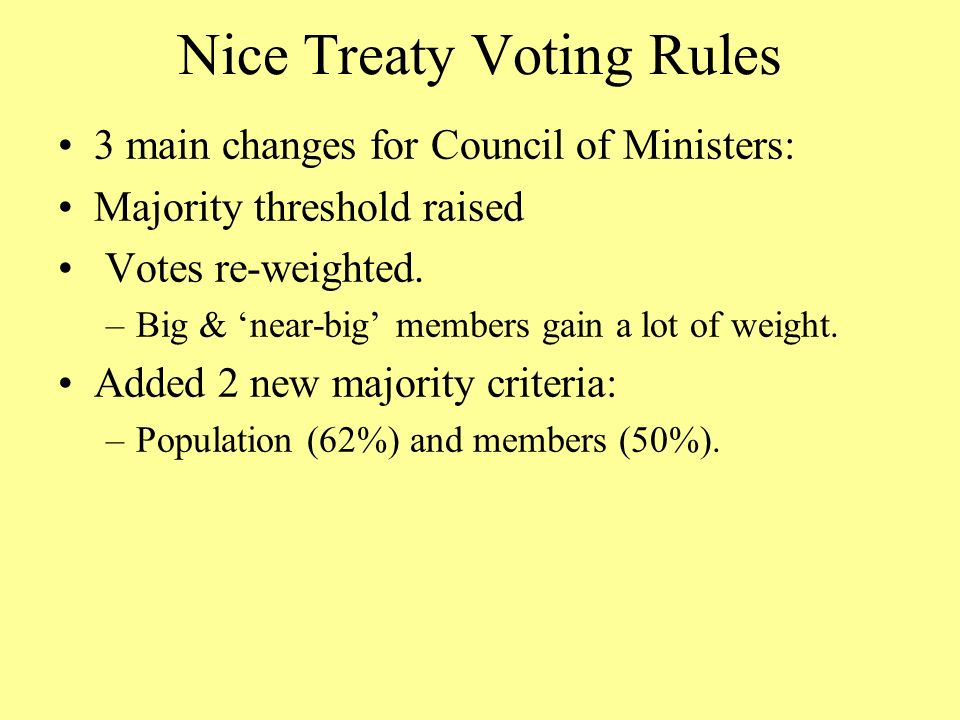 Nice Treaty Voting Rules 3 main changes for Council of Ministers: Majority threshold raised Votes re-weighted.