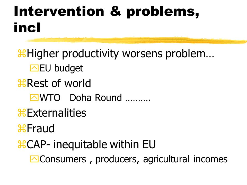 Intervention & problems, incl zHigher productivity worsens problem… yEU budget zRest of world yWTO Doha Round ……….
