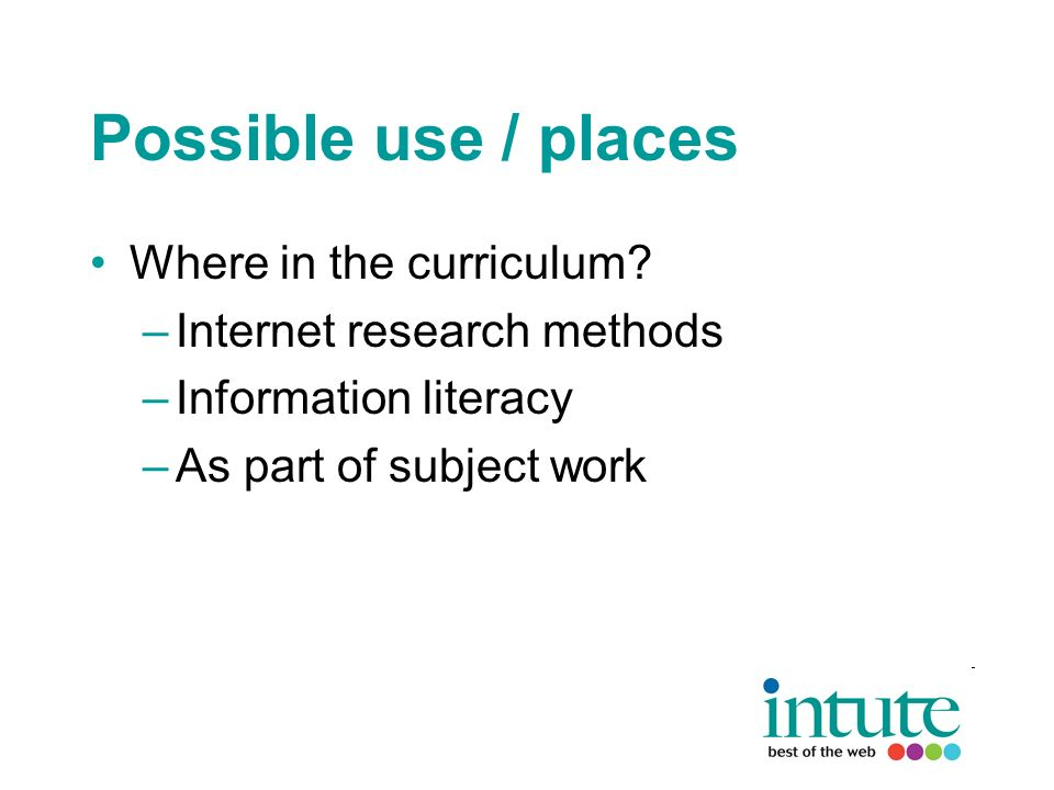 Possible use / places Where in the curriculum.