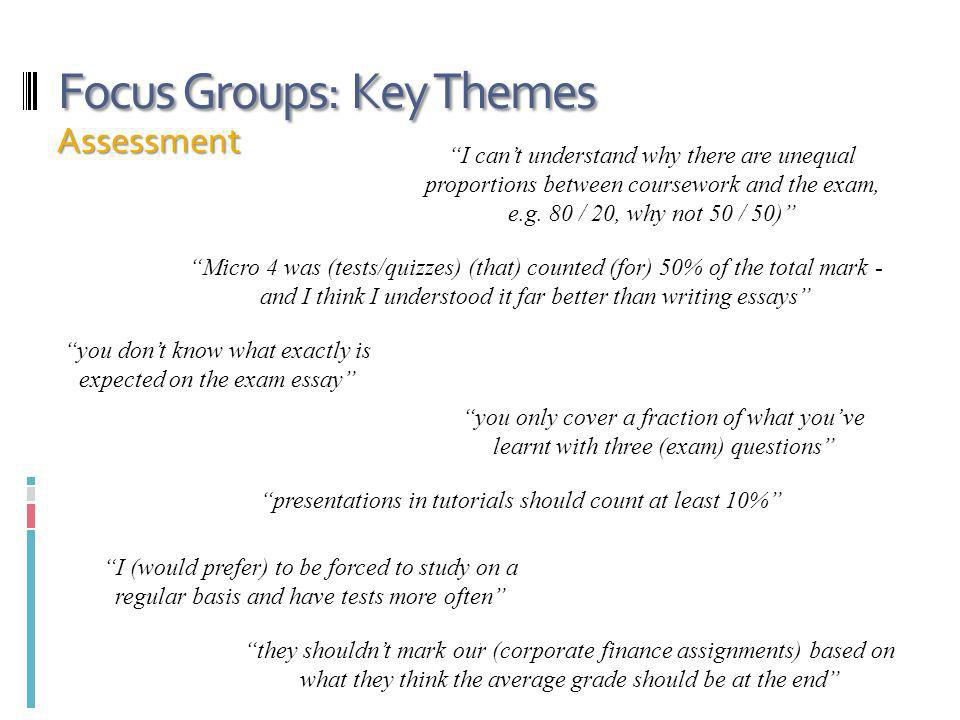 Focus Groups: Key Themes Assessment I cant understand why there are unequal proportions between coursework and the exam, e.g.