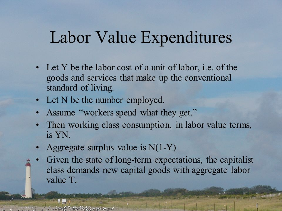 Labor Value Expenditures Let Y be the labor cost of a unit of labor, i.e.