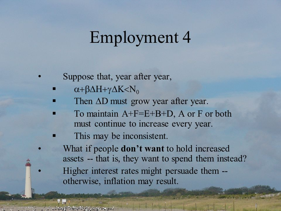 Employment 4 Suppose that, year after year, Then D must grow year after year.