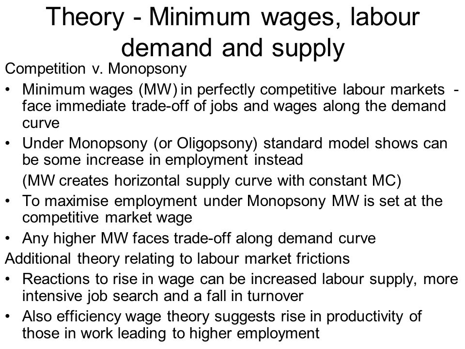 Theory - Minimum wages, labour demand and supply Competition v.