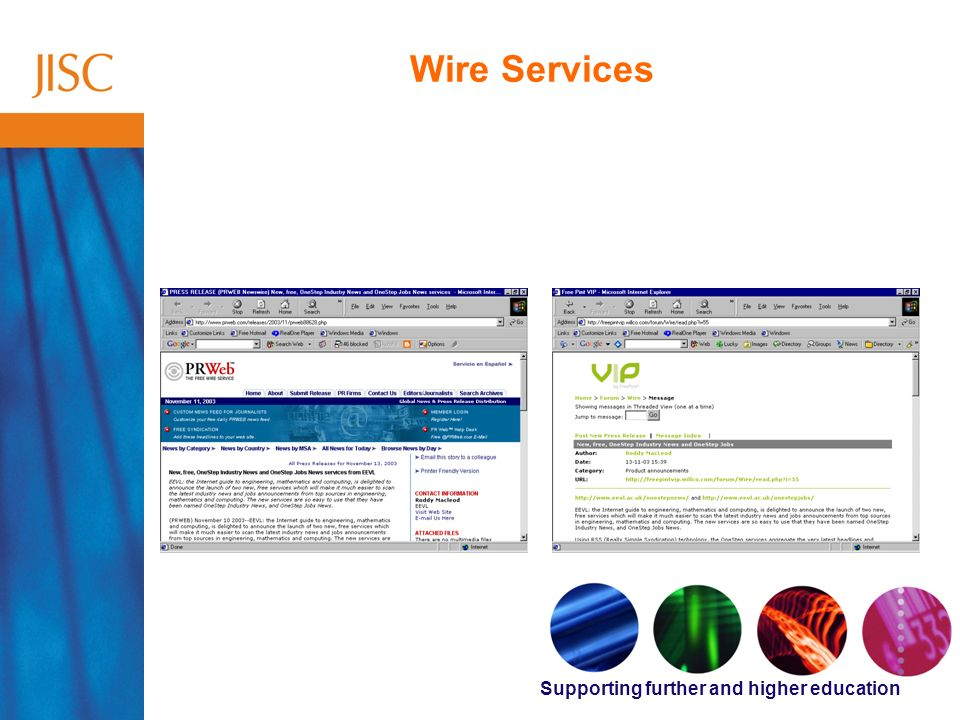Supporting further and higher education Wire Services