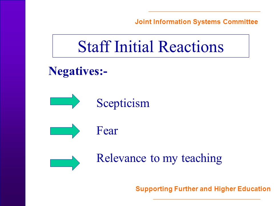 Joint Information Systems Committee Supporting Further and Higher Education Negatives:- Scepticism Fear Relevance to my teaching Staff Initial Reactions