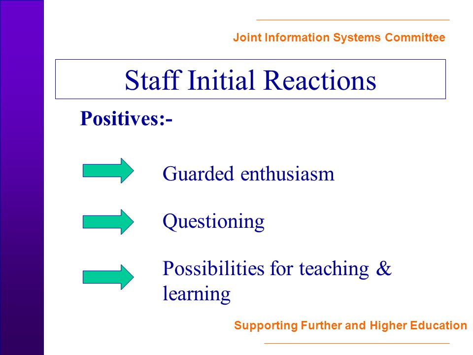 Joint Information Systems Committee Supporting Further and Higher Education Positives:- Guarded enthusiasm Questioning Possibilities for teaching & learning Staff Initial Reactions