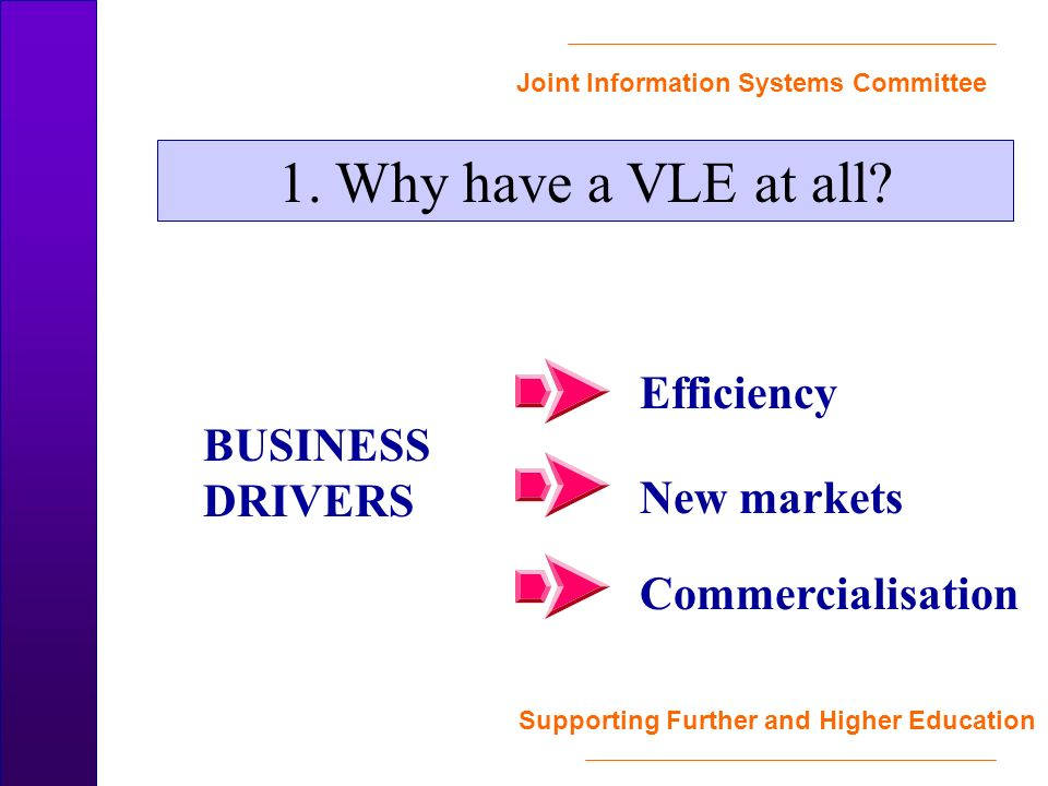 Joint Information Systems Committee Supporting Further and Higher Education Commercialisation New markets Efficiency 1.
