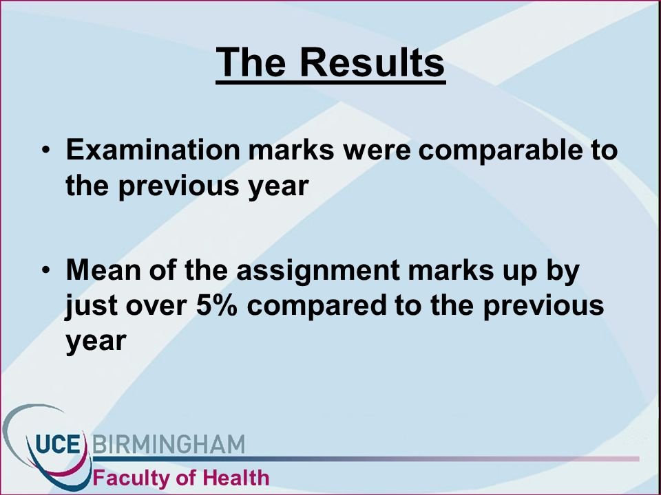 The Results Examination marks were comparable to the previous year Mean of the assignment marks up by just over 5% compared to the previous year Faculty of Health