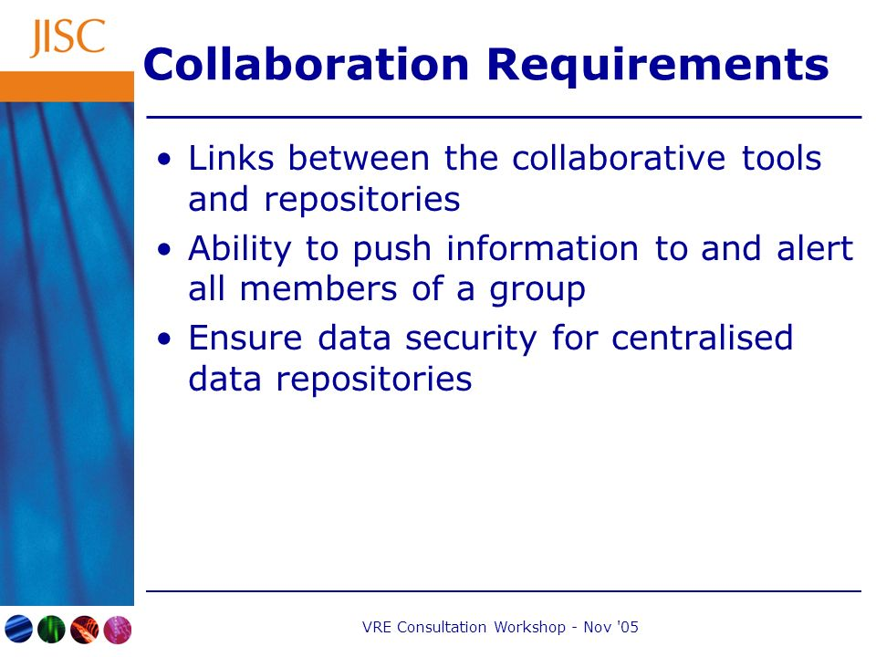 VRE Consultation Workshop - Nov 05 Collaboration Requirements Links between the collaborative tools and repositories Ability to push information to and alert all members of a group Ensure data security for centralised data repositories