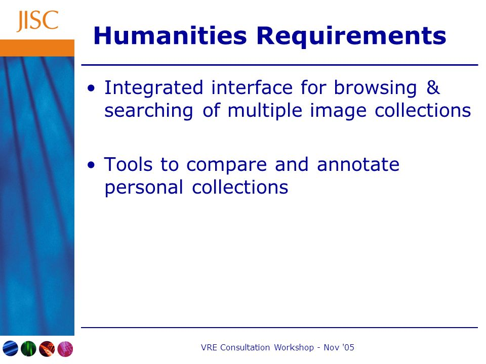 VRE Consultation Workshop - Nov 05 Humanities Requirements Integrated interface for browsing & searching of multiple image collections Tools to compare and annotate personal collections