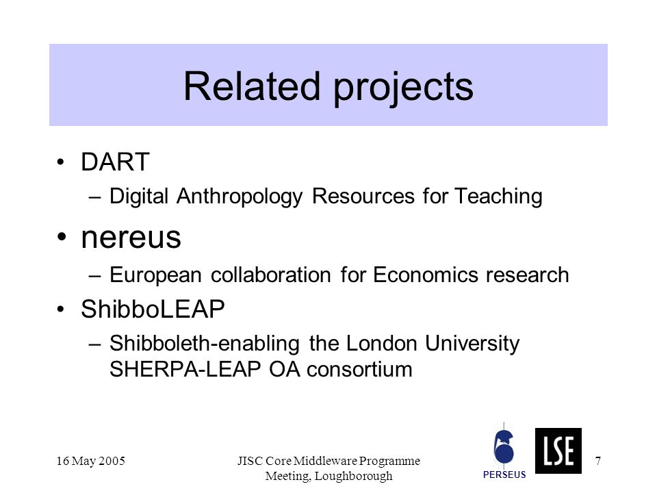 PERSEUS 16 May 2005JISC Core Middleware Programme Meeting, Loughborough 7 Related projects DART –Digital Anthropology Resources for Teaching nereus –European collaboration for Economics research ShibboLEAP –Shibboleth-enabling the London University SHERPA-LEAP OA consortium
