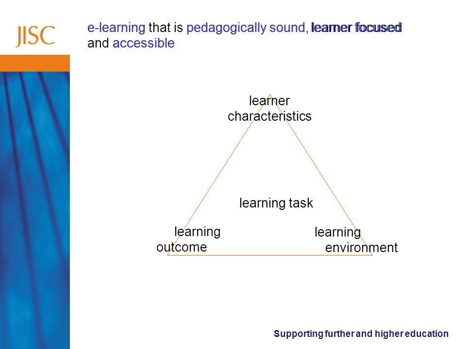 Supporting further and higher education e-learning that is pedagogically sound, learner focused and accessible pedagogically soundlearner focused accessible e-learning learner characteristics learning outcome learning environment learning task