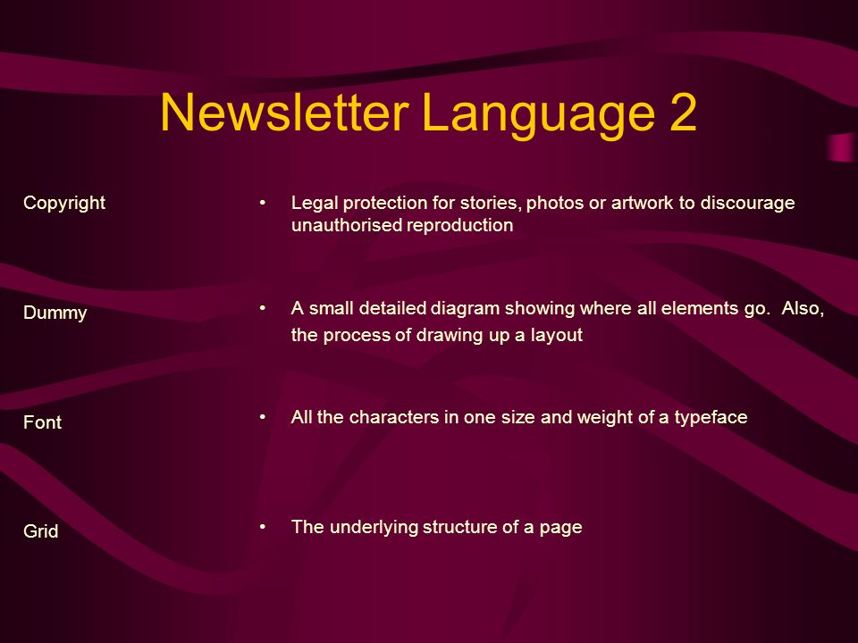Newsletter Language 1 Body Type Byline Caption Clip Art Type used for text.
