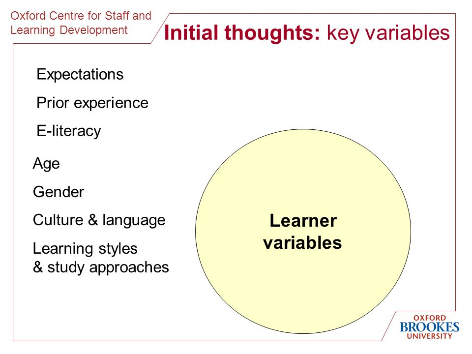 Oxford Centre for Staff and Learning Development Initial thoughts: key variables Learner variables Expectations Prior experience E-literacy Age Gender Culture & language Learning styles & study approaches
