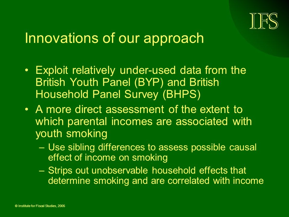 © Institute for Fiscal Studies, 2005 Innovations of our approach Exploit relatively under-used data from the British Youth Panel (BYP) and British Household Panel Survey (BHPS) A more direct assessment of the extent to which parental incomes are associated with youth smoking –Use sibling differences to assess possible causal effect of income on smoking –Strips out unobservable household effects that determine smoking and are correlated with income