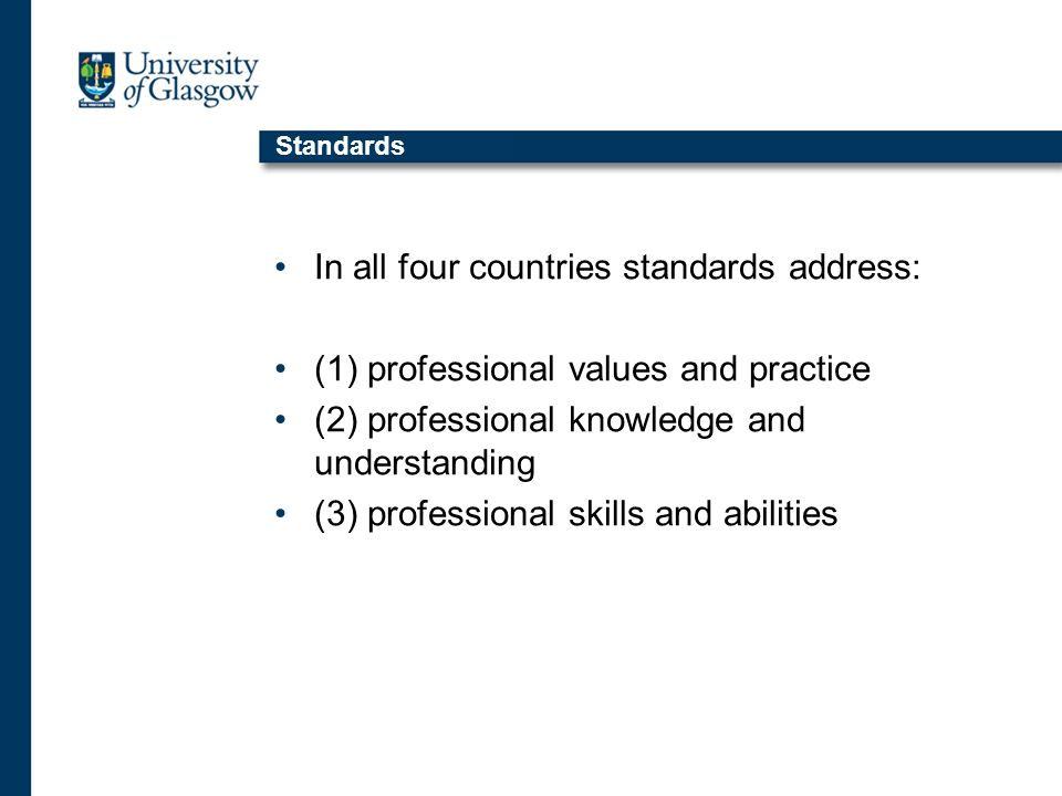 Standards In all four countries standards address: (1) professional values and practice (2) professional knowledge and understanding (3) professional skills and abilities