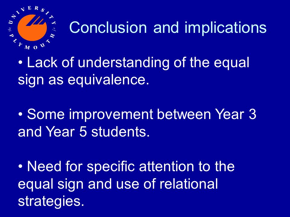 Conclusion and implications Lack of understanding of the equal sign as equivalence.