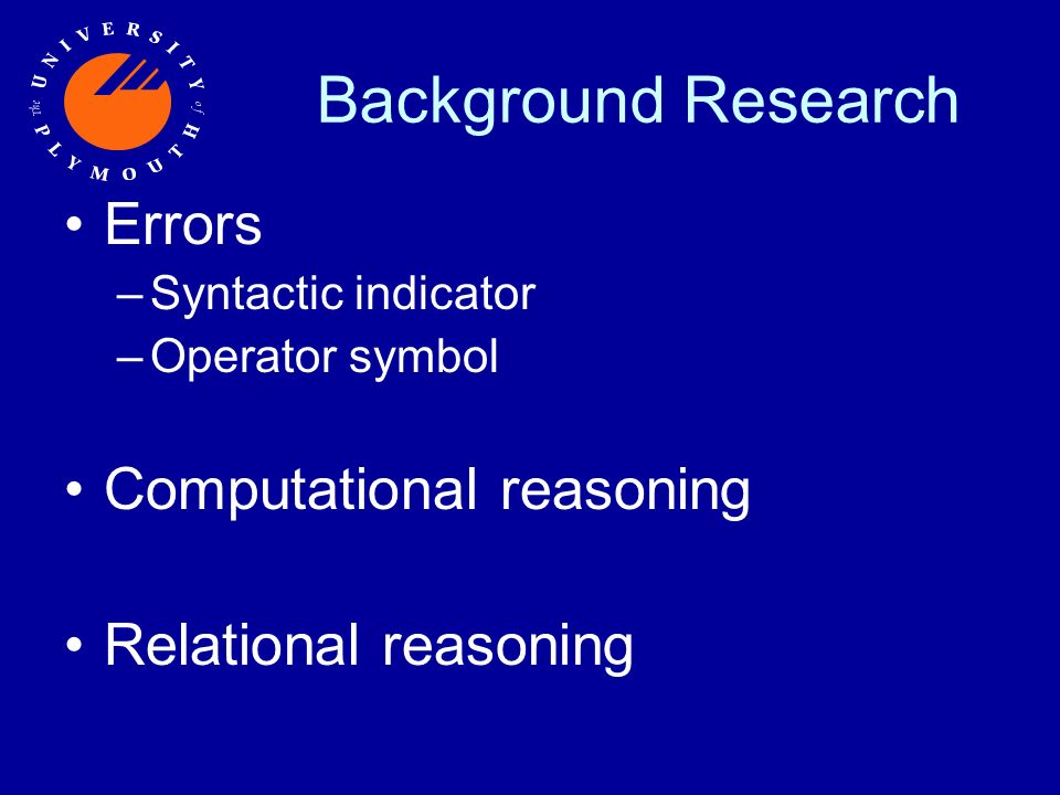 Background Research Errors –Syntactic indicator –Operator symbol Computational reasoning Relational reasoning