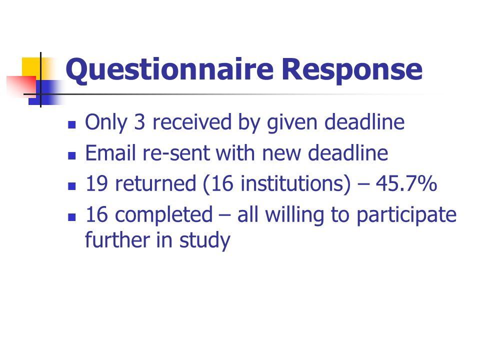 Questionnaire Response Only 3 received by given deadline Email re-sent with new deadline 19 returned (16 institutions) – 45.7% 16 completed – all willing to participate further in study