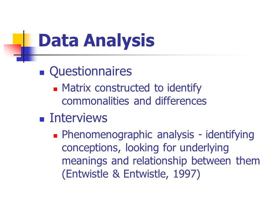 Data Analysis Questionnaires Matrix constructed to identify commonalities and differences Interviews Phenomenographic analysis - identifying conceptions, looking for underlying meanings and relationship between them (Entwistle & Entwistle, 1997)