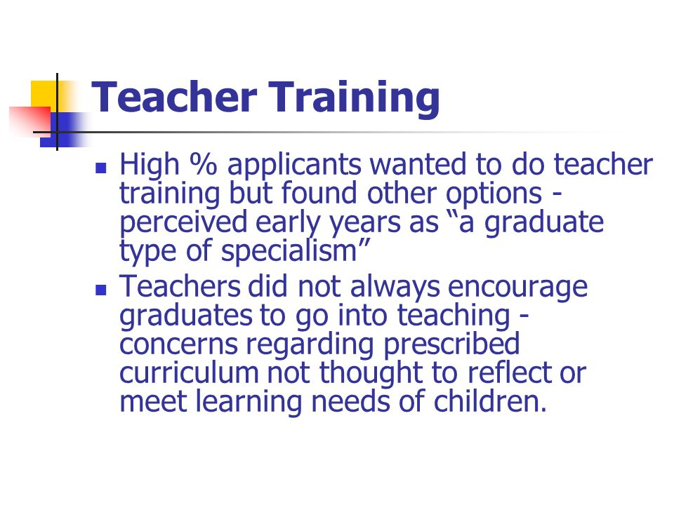 Teacher Training High % applicants wanted to do teacher training but found other options - perceived early years as a graduate type of specialism Teachers did not always encourage graduates to go into teaching - concerns regarding prescribed curriculum not thought to reflect or meet learning needs of children.