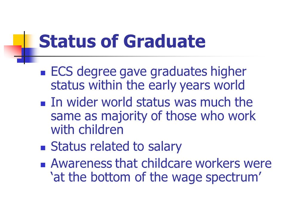 Status of Graduate ECS degree gave graduates higher status within the early years world In wider world status was much the same as majority of those who work with children Status related to salary Awareness that childcare workers were at the bottom of the wage spectrum