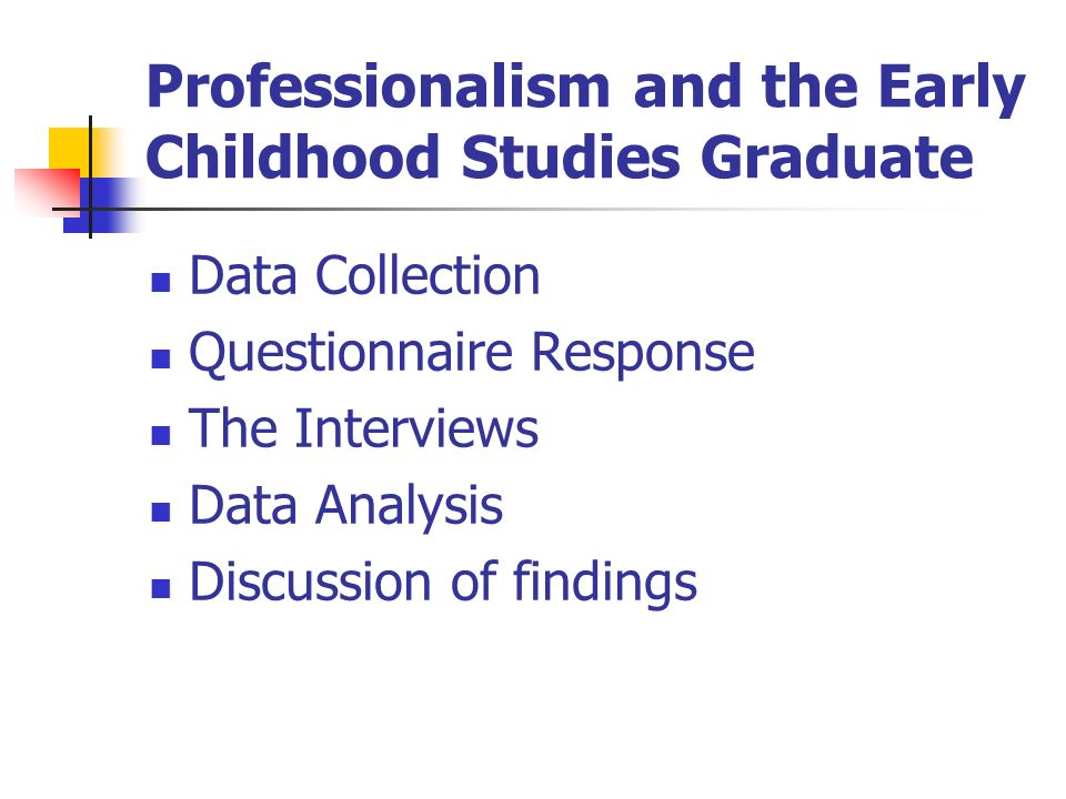 Professionalism and the Early Childhood Studies Graduate Data Collection Questionnaire Response The Interviews Data Analysis Discussion of findings