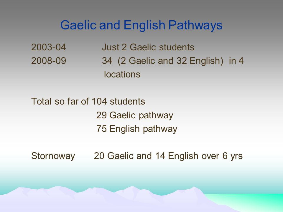 Gaelic and English Pathways 2003-04Just 2 Gaelic students 2008-0934 (2 Gaelic and 32 English) in 4 locations Total so far of 104 students 29 Gaelic pathway 75 English pathway Stornoway 20 Gaelic and 14 English over 6 yrs