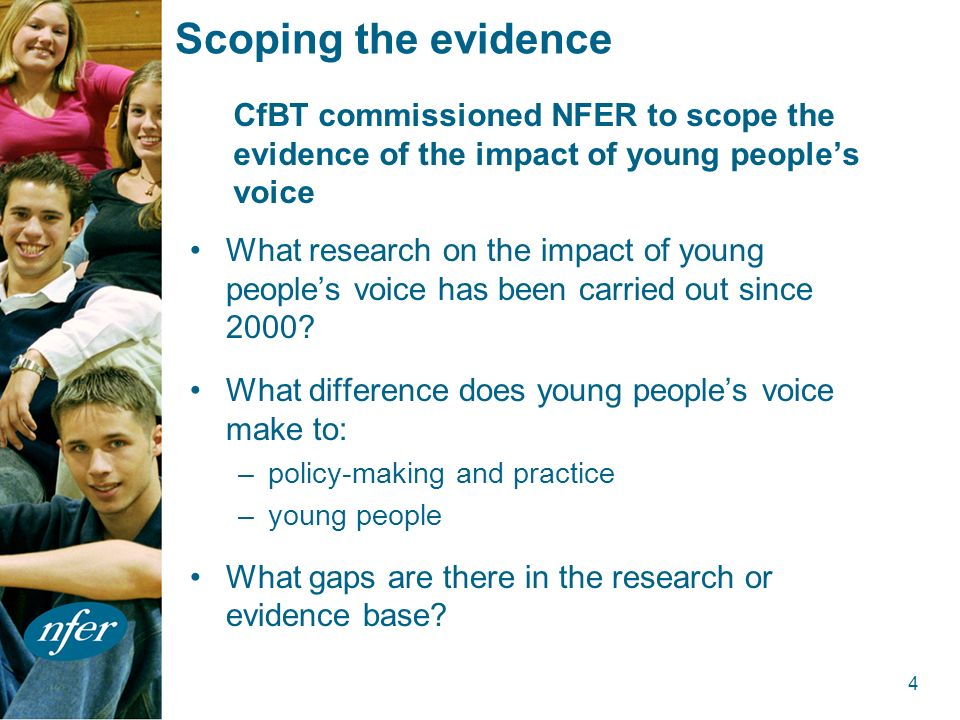4 Scoping the evidence What research on the impact of young peoples voice has been carried out since 2000.