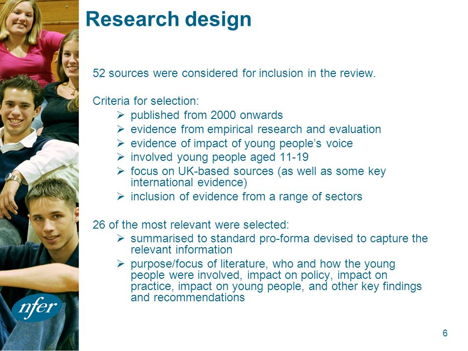 6 Research design 52 sources were considered for inclusion in the review.