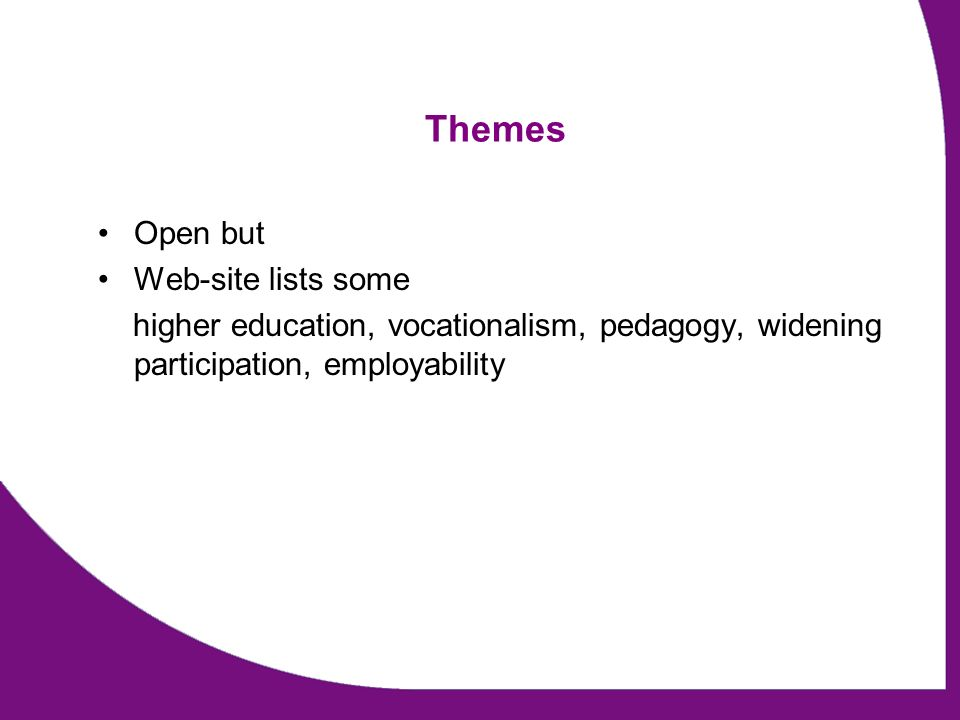 Themes Open but Web-site lists some higher education, vocationalism, pedagogy, widening participation, employability