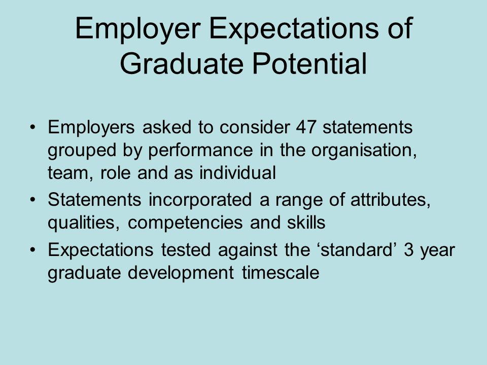 Employer Expectations of Graduate Potential Employers asked to consider 47 statements grouped by performance in the organisation, team, role and as individual Statements incorporated a range of attributes, qualities, competencies and skills Expectations tested against the standard 3 year graduate development timescale
