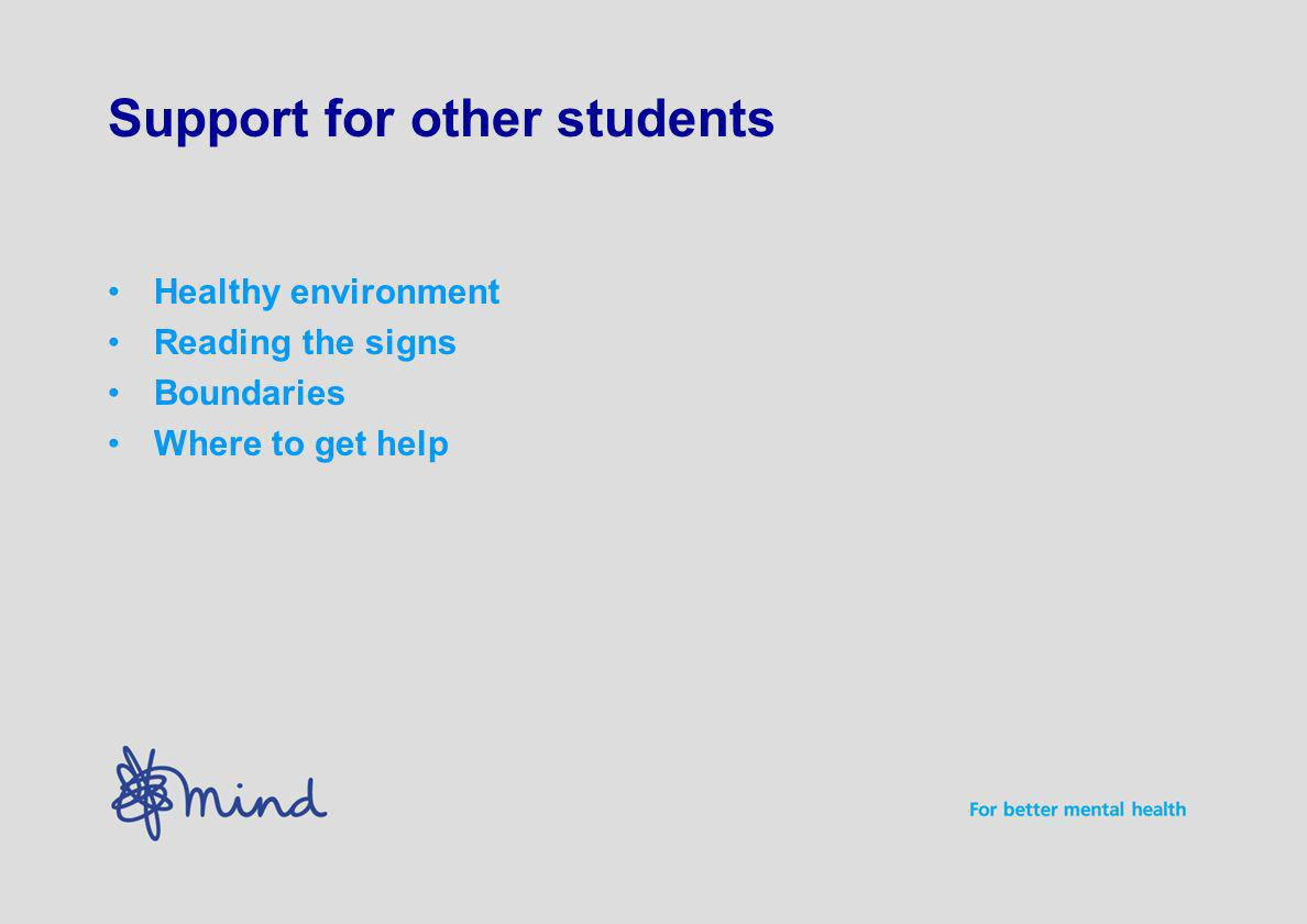 Support for other students Healthy environment Reading the signs Boundaries Where to get help