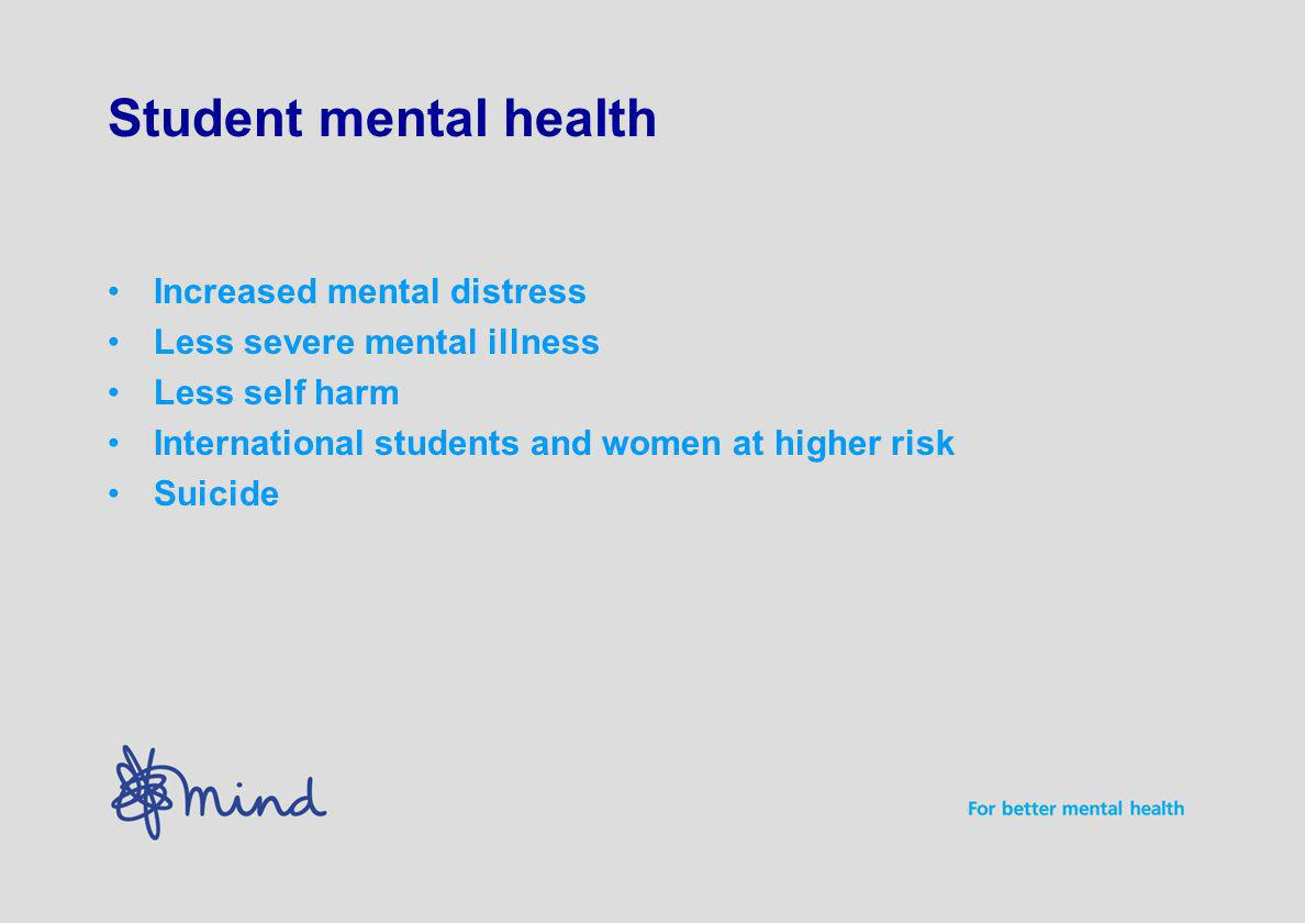 Student mental health Increased mental distress Less severe mental illness Less self harm International students and women at higher risk Suicide
