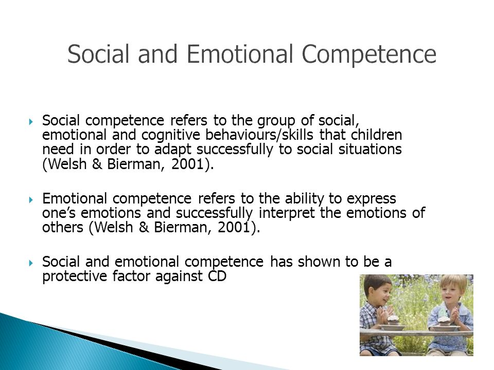Social competence refers to the group of social, emotional and cognitive behaviours/skills that children need in order to adapt successfully to social situations (Welsh & Bierman, 2001).