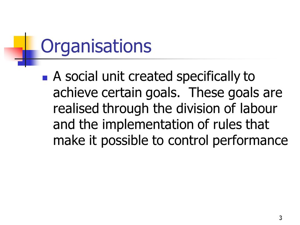 2 Aims To explain the concept of organisation and organisational structure To explain the different types of structure that exist within organisations To highlight the relationship between organisational structure and technology To describe the various ways in which the IT function can be organised