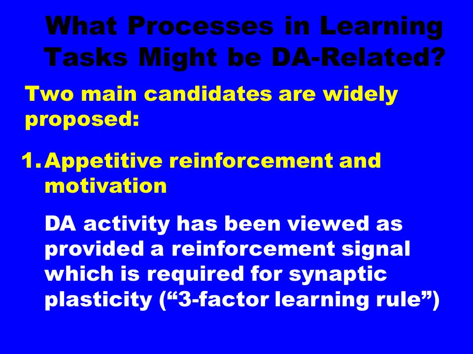 What Processes in Learning Tasks Might be DA-Related.