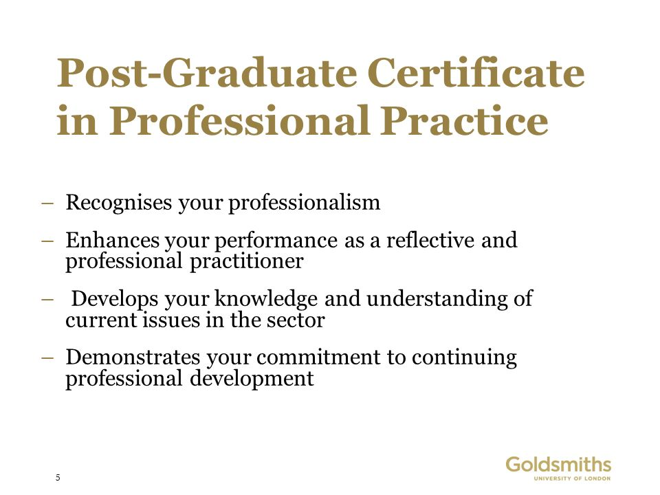 5 Post-Graduate Certificate in Professional Practice –Recognises your professionalism –Enhances your performance as a reflective and professional practitioner – Develops your knowledge and understanding of current issues in the sector –Demonstrates your commitment to continuing professional development
