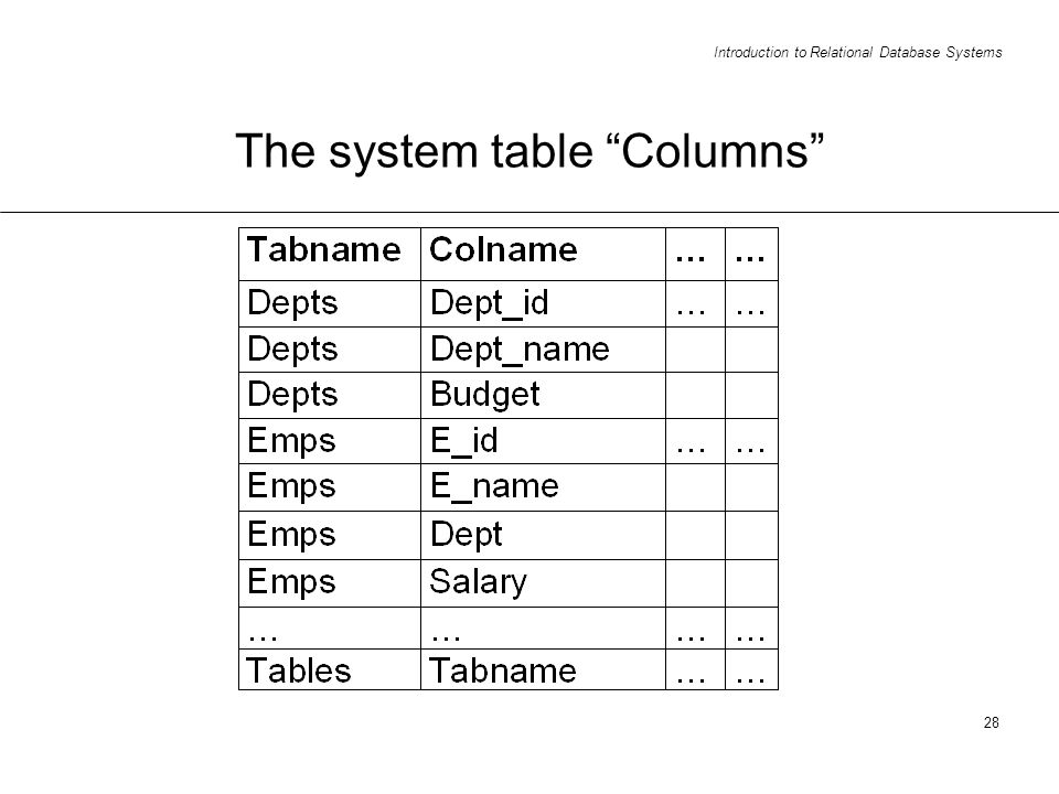 Introduction to Relational Database Systems 28 The system table Columns