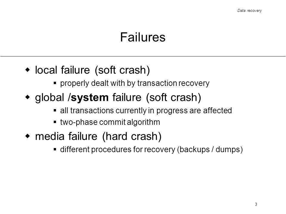 Data recovery 3 Failures local failure (soft crash) properly dealt with by transaction recovery global /system failure (soft crash) all transactions currently in progress are affected two-phase commit algorithm media failure (hard crash) different procedures for recovery (backups / dumps)