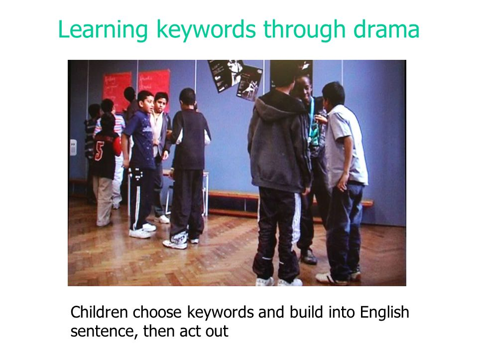 Learning keywords through drama Children choose keywords and build into English sentence, then act out