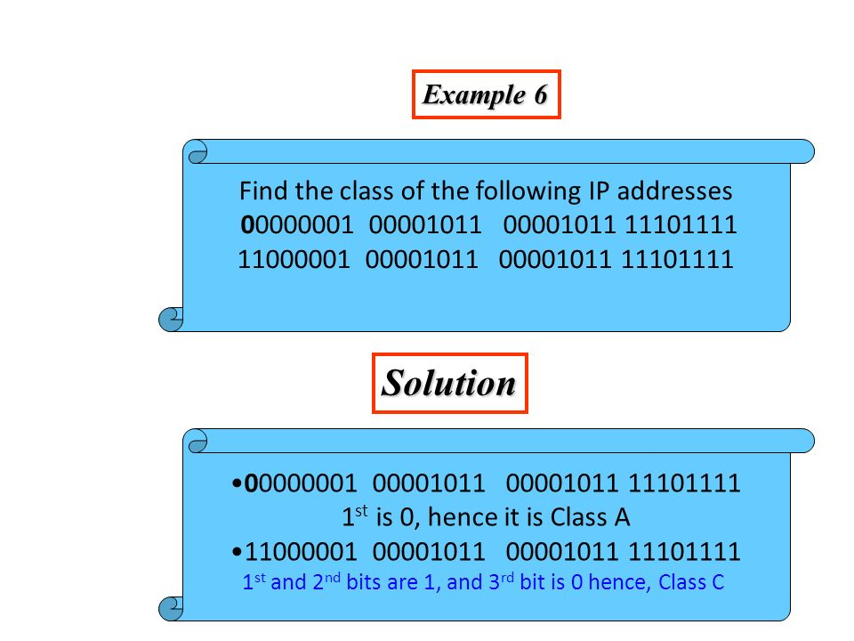 Example 6 Solution Find the class of the following IP addresses 00000001 00001011 00001011 11101111 11000001 00001011 00001011 11101111 00000001 00001011 00001011 11101111 1 st is 0, hence it is Class A 11000001 00001011 00001011 11101111 1 st and 2 nd bits are 1, and 3 rd bit is 0 hence, Class C