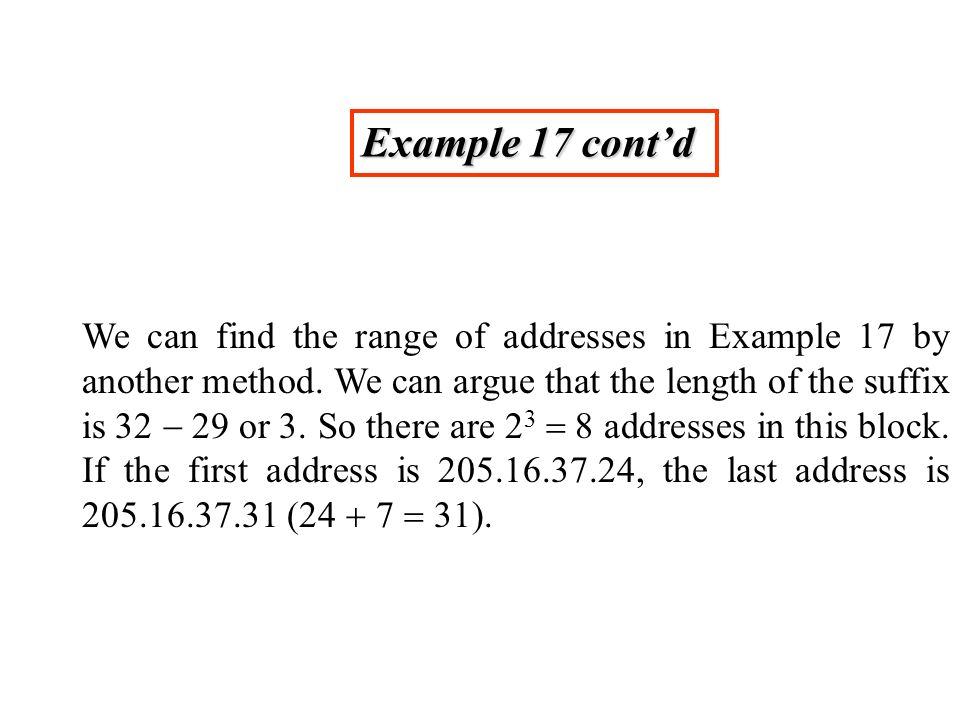 Example 17 contd We can find the range of addresses in Example 17 by another method.