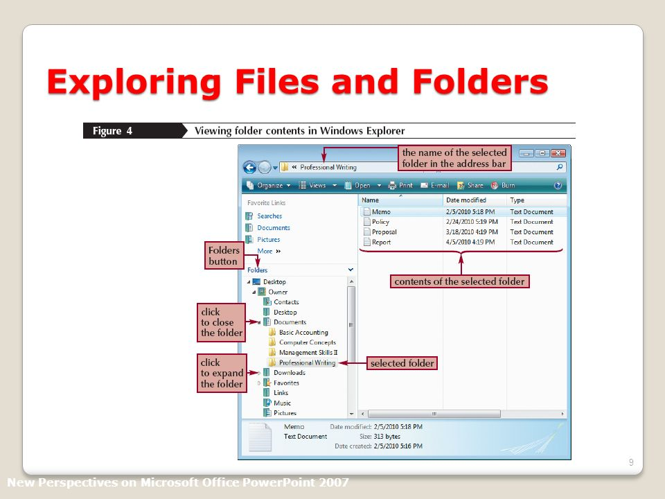 9 Exploring Files and Folders New Perspectives on Microsoft Office PowerPoint 2007