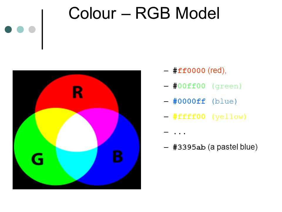 Colour – RGB Model – #ff0000 (red), – #00ff00 (green) – #0000ff (blue) – #ffff00 (yellow) –...