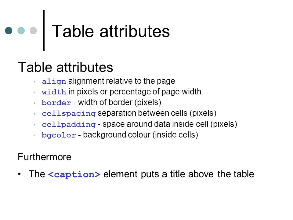 Table attributes align alignment relative to the page width in pixels or percentage of page width border - width of border (pixels) cellspacing separation between cells (pixels) cellpadding - space around data inside cell (pixels) bgcolor - background colour (inside cells) Furthermore The element puts a title above the table