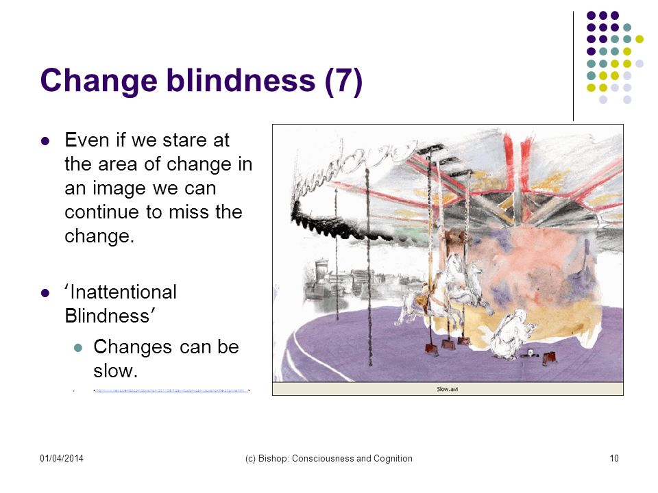 01/04/2014(c) Bishop: Consciousness and Cognition10 Change blindness (7) Even if we stare at the area of change in an image we can continue to miss the change.